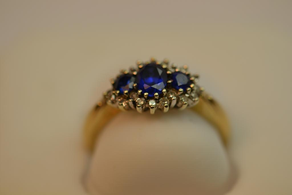 18kt Sapphire and Diamond Ring Size L 3/4