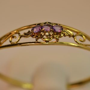 Amethyst and Diamond Bangle