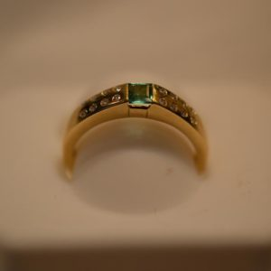 Emerald and Diamond 18KT gold ring size M