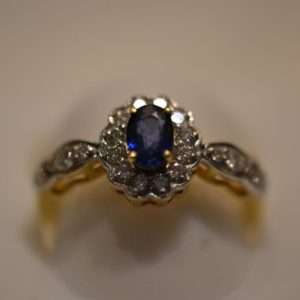 Saphire and Diamond Gold ring size L 1/2