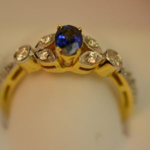 Sapphire and Diamond Gold Ring Size L 3/4